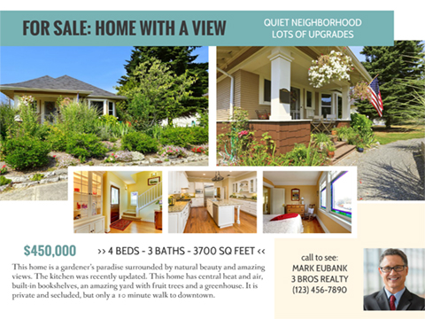 Real Estate Listing (Flyer)  Home For Sale Brochure